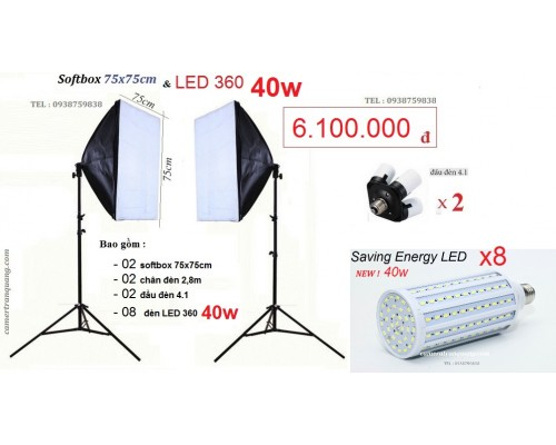 Bộ Softbox 75x75cm chụp nội thất