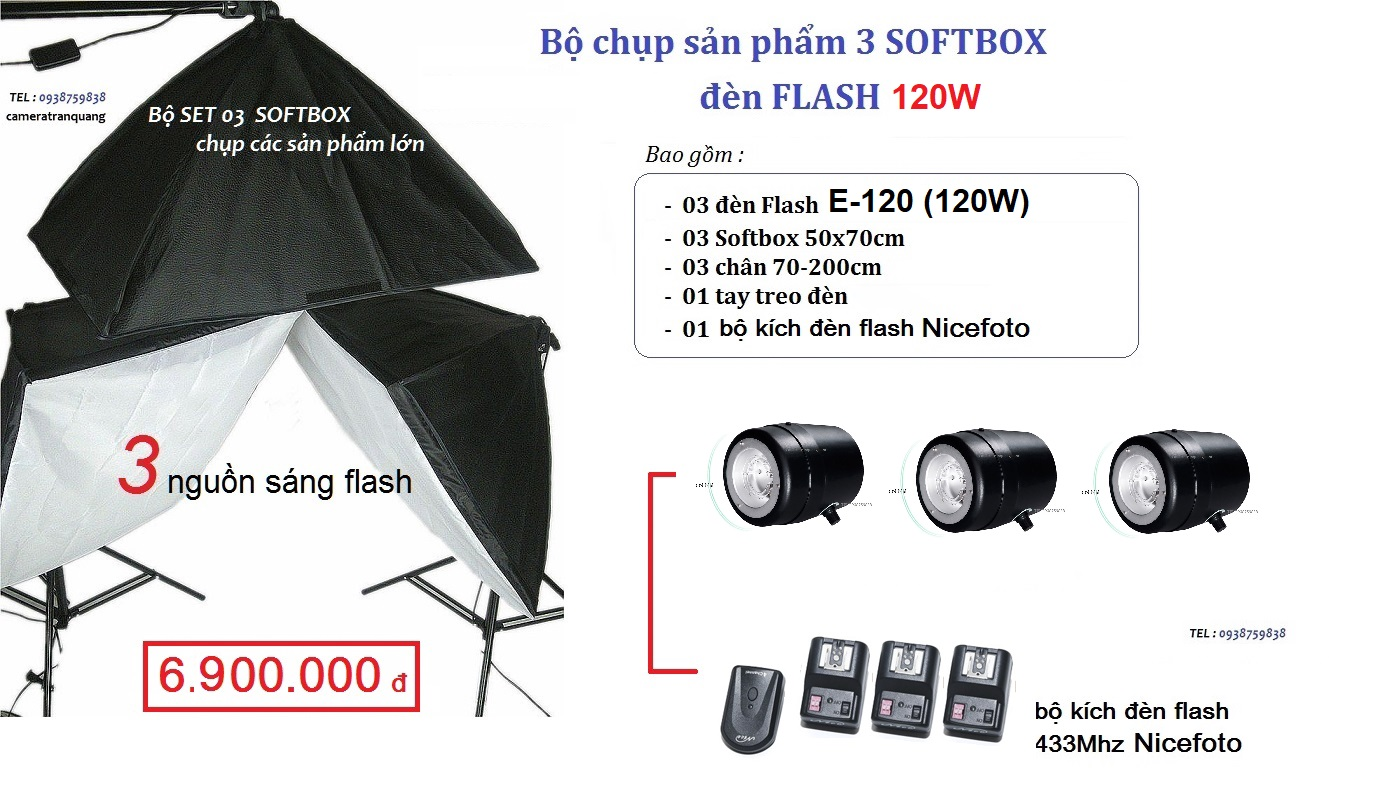 Bộ 03 Flash 120w & softbox 50x70cm