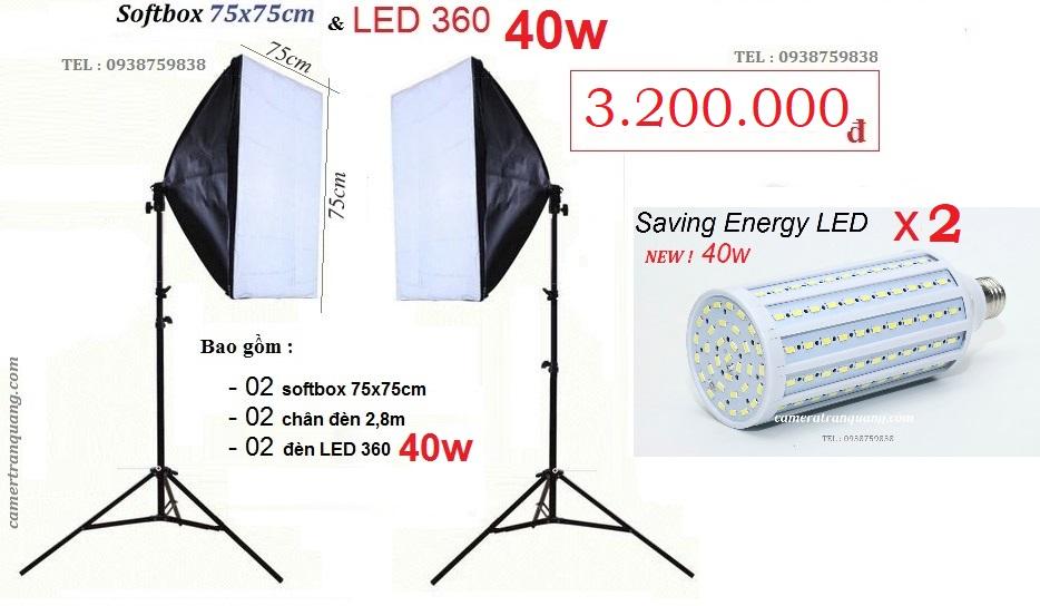 Bộ Softbox 75x75cm  2 Đèn 40W