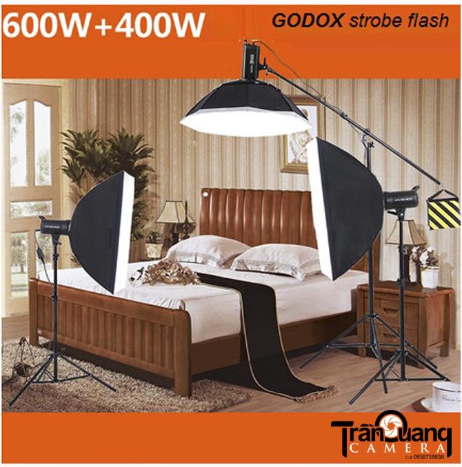 Bộ GODOX 600w + 400w softbox 70-100cm