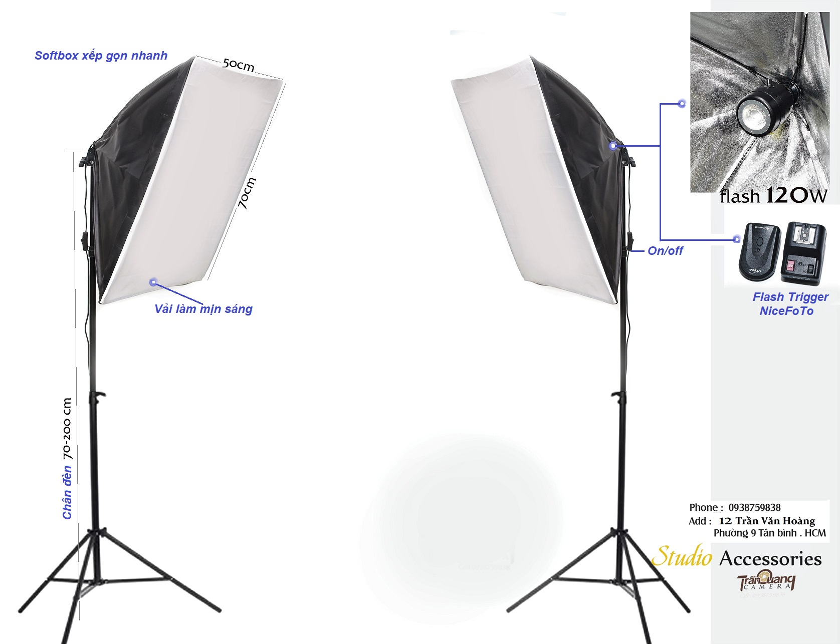 Bộ flash 120W SOFTBOX
