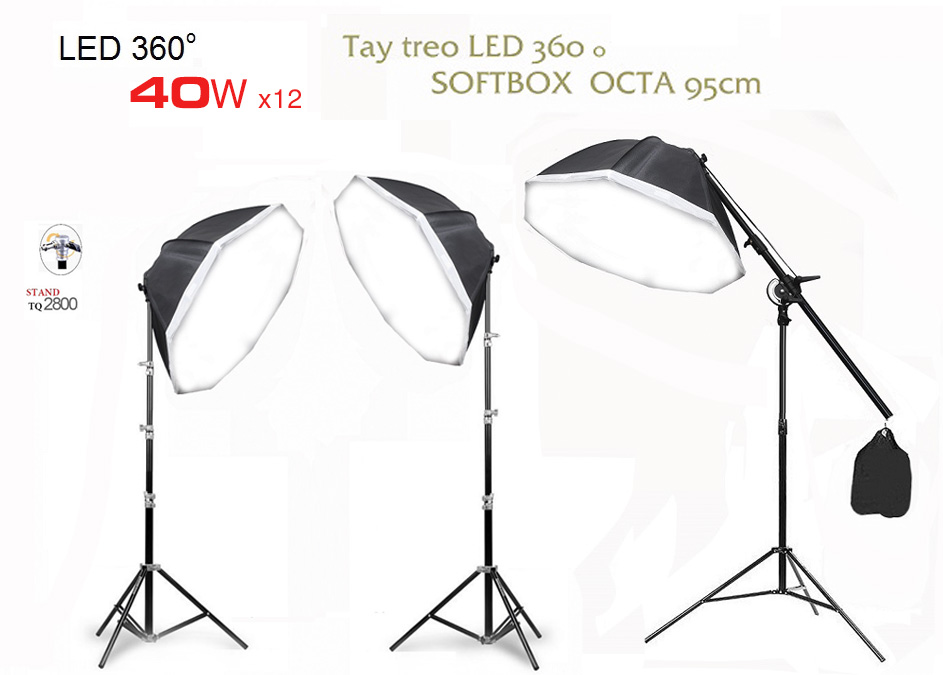 Bộ LED 3 softbox OCTA 95cm