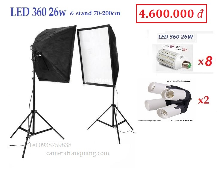 Bộ Softbox 8 đèn Led 26w